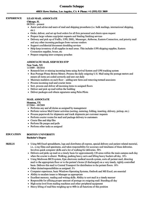 mail associate resume samples velvet jobs