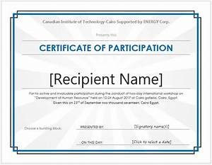 Printable participation templates certificate templates for Template for certificate of participation in workshop