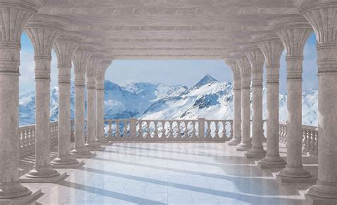 Mountain Scene Through The Arches Wall Paper Mural
