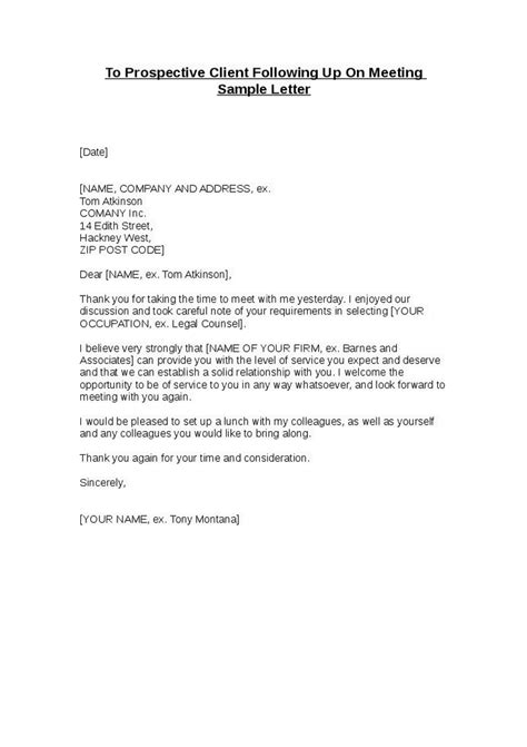 Customer Follow Up Email Template by Sle Business Letters To Potential Clients Sle