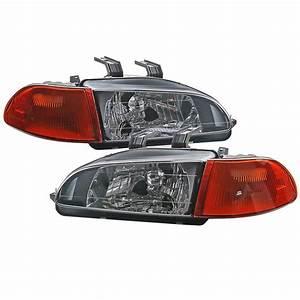 Crystal Black Headlight   Amber Corner Light For Honda