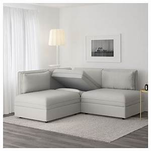 Vallentuna 3 seat corner sofa with bed ramna light grey ikea for Couch gb sofa
