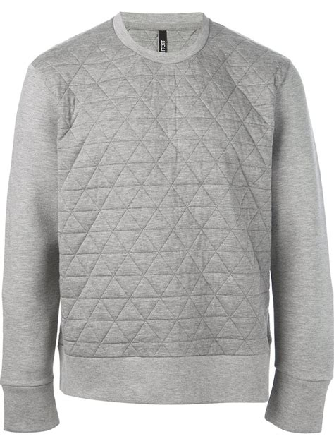 quilted hoodie mens neil barrett quilted sweatshirt in gray for lyst