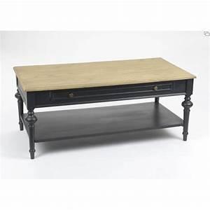 Table Basse NEW LEGENDE 120 Cm En Bois Noir Et Naturel