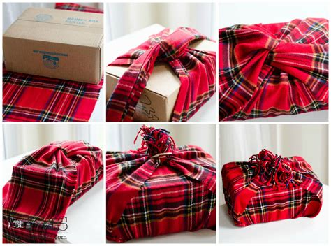 wrap a christmas package in a plaid scarf tutorial