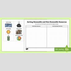 Renewable And Non Renewable Resources Sorting Worksheet  Worksheet Earth