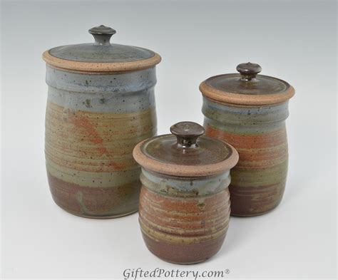 stoneware kitchen canisters handmade pottery canister set oasis glaze giftedpottery com