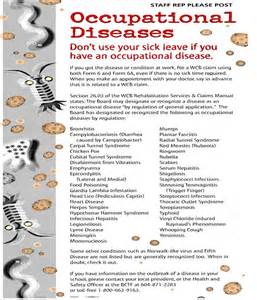 ... (BCTF.ca) Occupational Disease Poster (used with permission Occupational Diseases