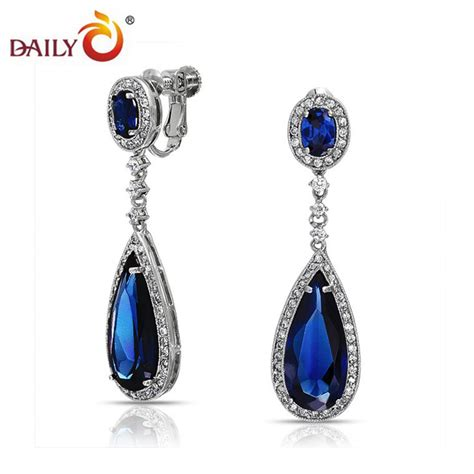 clip on drop earrings for blue sapphire teardrop