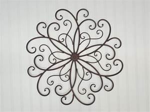 Metal wall scroll decor bohemian rustic