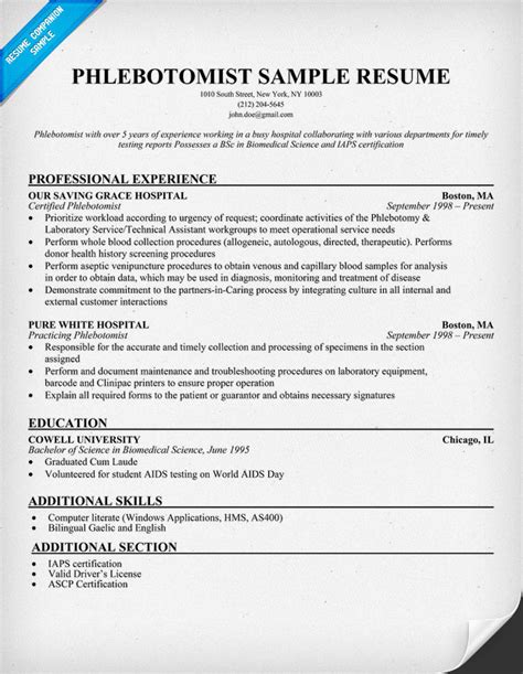Phlebotomy Resume by Pin Exle Resume Phlebotomy Technician On