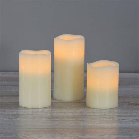 lights com flameless candles pillar candles ivory