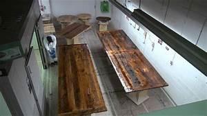 Time-Lapsed Epoxy Process on Reclaimed Wood Tables - YouTube