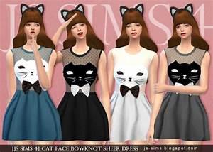 JS Sims 4: Cat Face Bowknot Sheer Dress • Sims 4 Downloads