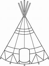 Teepee Tent Drawing Indian Clipart Coloring Native American Tipi Clip Tepee Outline Pages Pattern Designs Sheets Printable Quiet Line Sweetclipart sketch template
