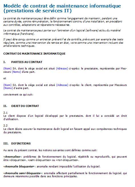 modèle de contrat de prestation de service word prestations de services it mod 232 le de contrat 224 t 233 l 233 charger