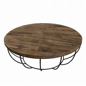 Table Basse Ronde Bois Metal : table basse ronde bois et m tal noir 100cm tinesixe so inside ~ Teatrodelosmanantiales.com Idées de Décoration