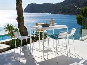 Table Haute 4 Personnes : table haute de jardin en m tal blanc 4 personnes l130 ~ Melissatoandfro.com Idées de Décoration