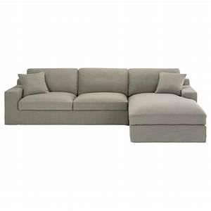 Canape d39angle droit 5 places en tissu gris stuart for Tapis chambre enfant avec canapé d angle cuir maison du monde