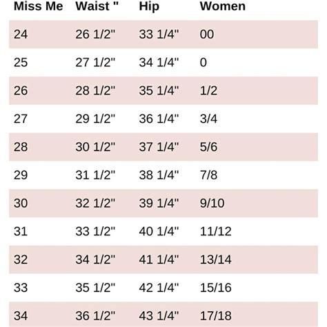 jeans size chart poshmark