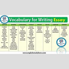 Vocabulary For Writing Essay  English Study Here