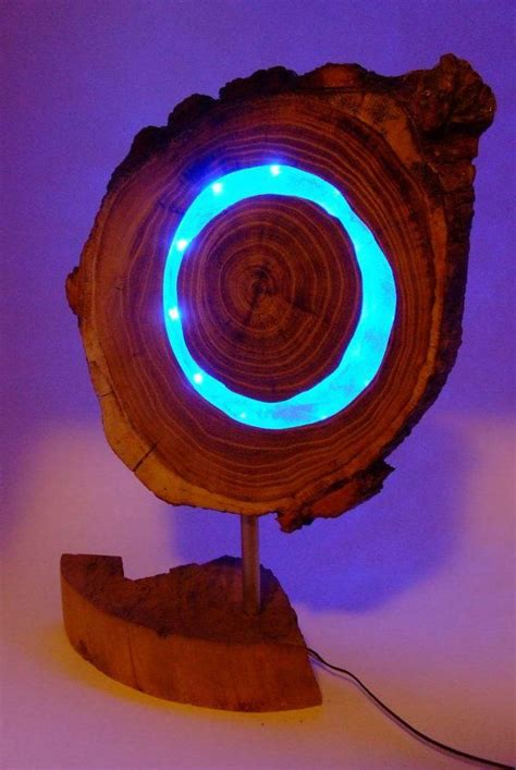 wooden blue led lamp acaciawood  clear epoxy resin