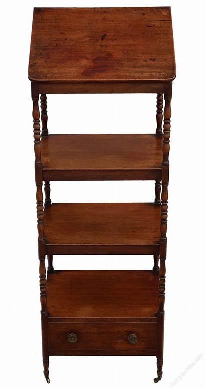 Open Bookcase Mahogany Shelves Regency Whatnot Antique