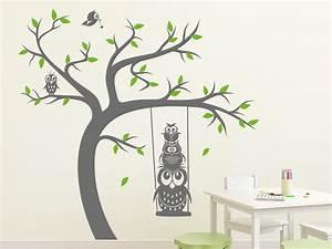 Baum An Wand Malen : wandtattoo baum mit schaukel und eulen wandtattoo de ~ Frokenaadalensverden.com Haus und Dekorationen