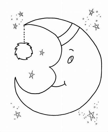 Preschool Coloring Moon Pages Template Templates Pdf