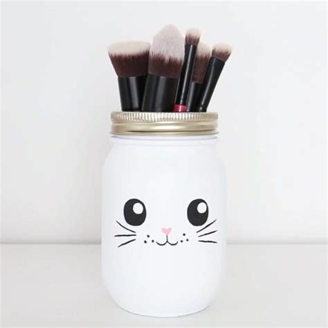 Diy Makeup Brush Holder Using A Mason Jar So If You Were