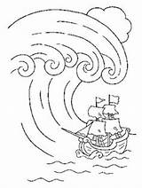 Coloring Wave Colouring Tsunami Drawing Template Crafts Printable Drawings Sheets sketch template