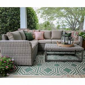 forsyth 5 piece wicker outdoor sectional set with tan With outdoor sectional sofa home depot