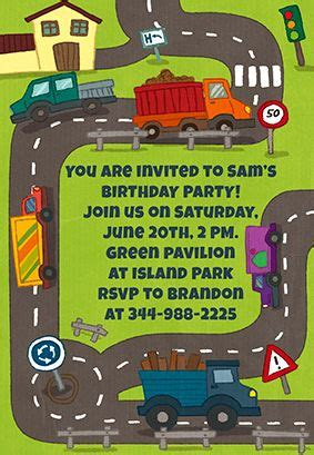 trucks theme party printable invitation customize add
