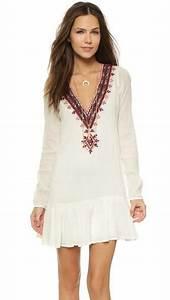 robe brodee vintage boho boheme chic d0905 idees pour la With robe boheme courte