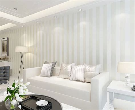 Sophisticated Room Designs With Stripped Back Style : 10m Roll Modern Simple Style 3d Stripe Wallpaper Bright