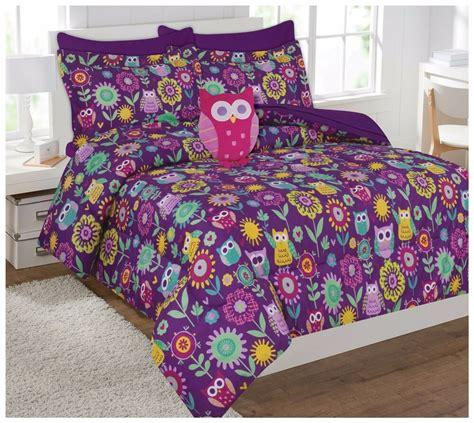 Owl Bedding by Fancy Linen Owl Flowers Purple Pink Comforter