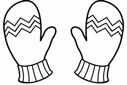 Clipart Mittens Outline Mitten Printable Gloves Winter