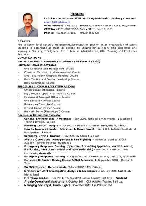 Retired Resume by Resume Col Ata Eni Pakistan Ltd