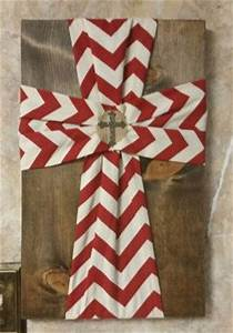 Chevron Fabric Cross on Wood home decor Wood block