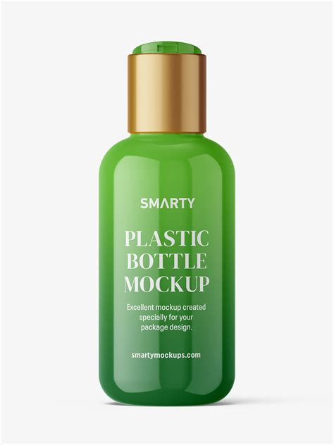 Psd file consists of smart objects. Bottle with disctop mockup / glossy - Smarty Mockups