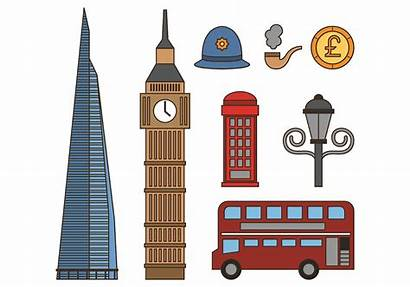 London Icons Vector Tower Drawing Ben Clock