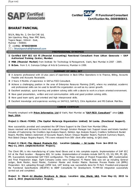 sap bw resume 5 years experience sap bw bi consultant resume sap fico resume with 5 years experience cover letter sap