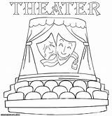 Theater Coloring Pages Comedy Masks Colorings Tragedy Building sketch template