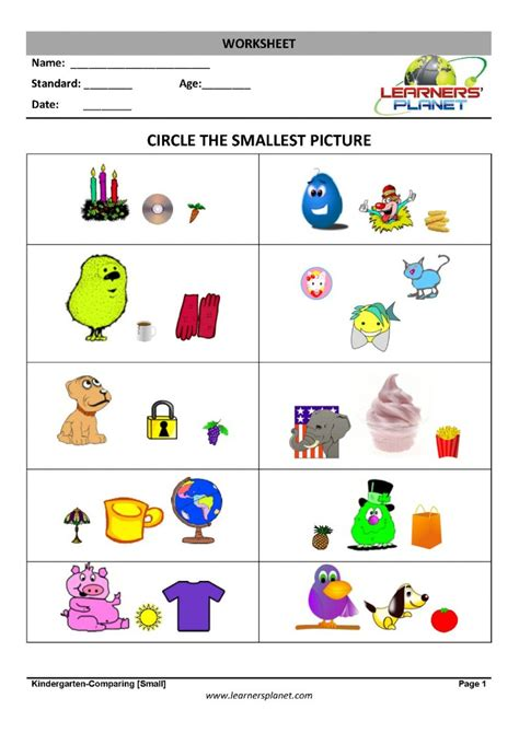comparing numbers kg learning worksheet