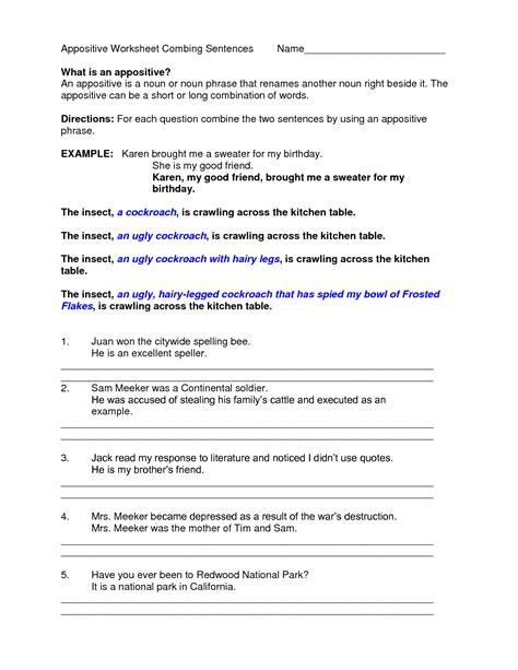 worksheet appositive phrase worksheet grass fedjp
