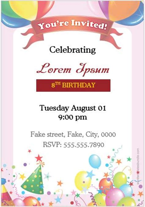 birthday invitation cards  ms word users word
