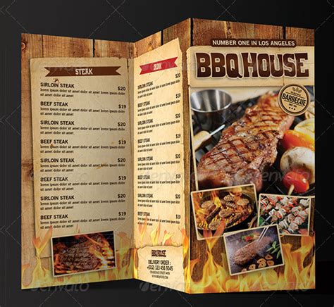 printable bbq menu templates  premium