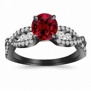 black gold round ruby red diamond engagement ring With ruby and black diamond wedding rings