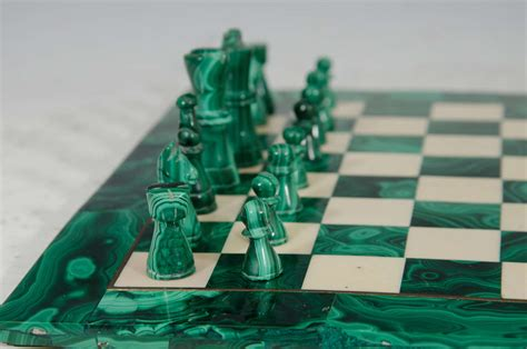 marble pieces midcentury malachite and marble chess set game board and