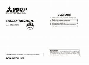 Mitsubishi Mxz 2a52va Air Conditioner Installation Manual